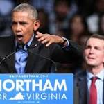 Obama decries 'nasty' politics while rallying for Virginia Dem